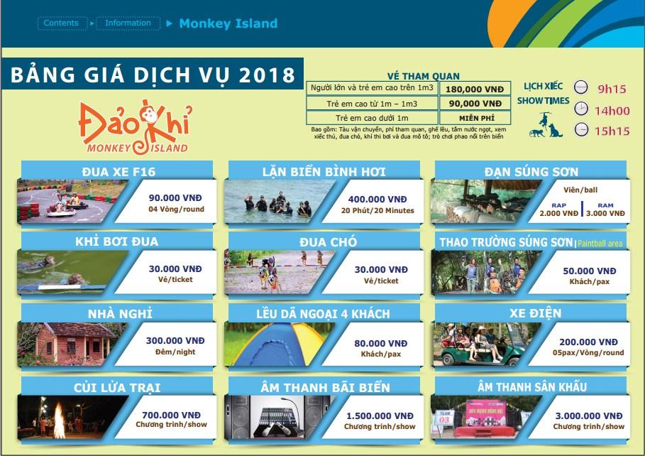 Bảng Giá Dịch Vụ Đảo Khỉ 2020