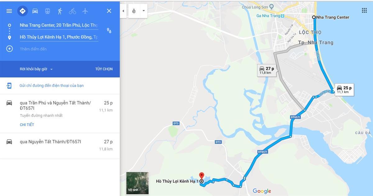 Đường đi Hồ Kênh Hạ Nha Trang
