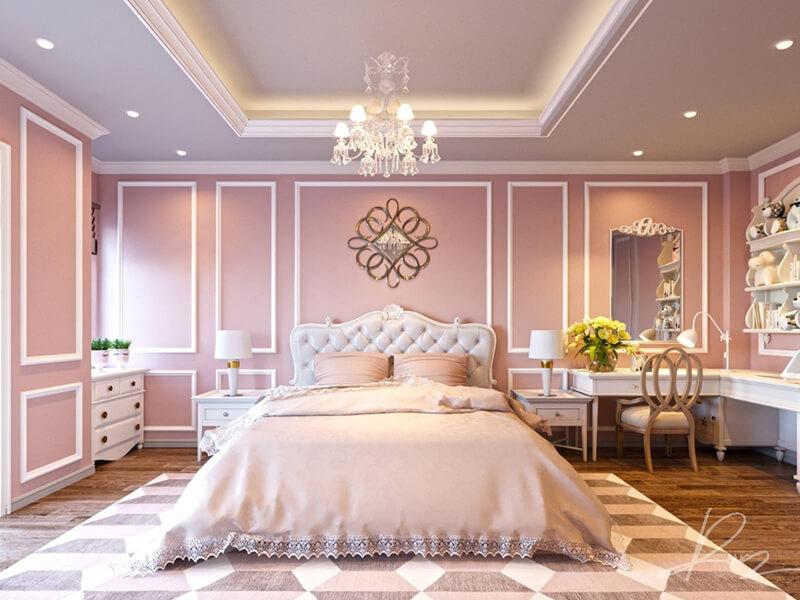 Trang trí phào chỉ phòng ngủ theo lối tân cổ điển sang trọng