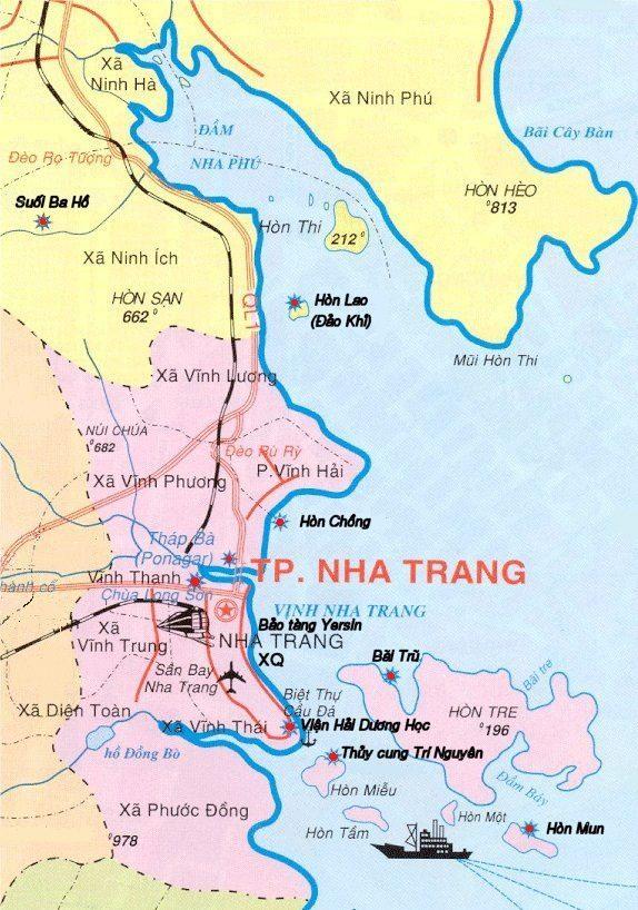 Bản đồ các địa điểm nổi tiếng Nha Trang