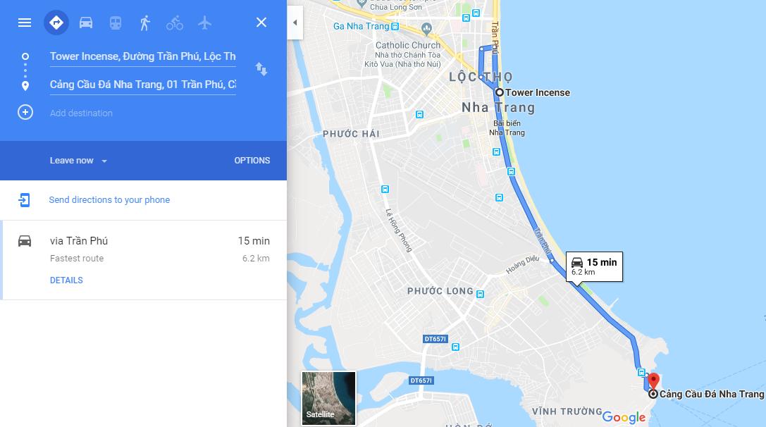 Đường đi tới Cảng Cầu Đá Nha Trang