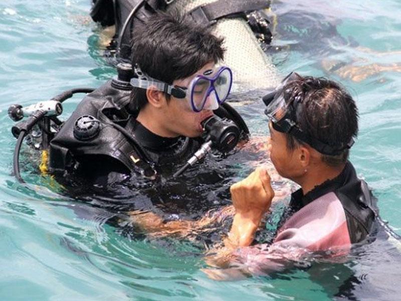 Quý khách được sự hướng dẫn của thợ lặn