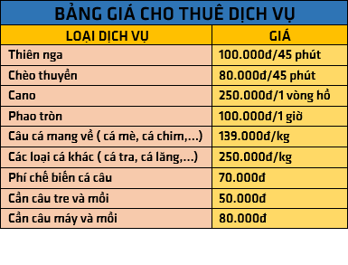 Bảng giá dịch vụ Hồ Kênh Hạ