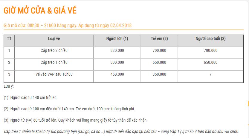 Giá vé Vinpearl Nha Trang