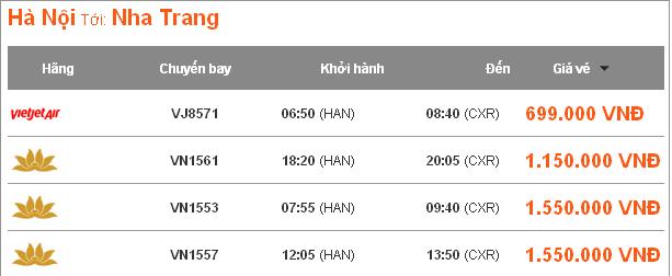Vé may bay tuyến Hà Nội-Nha Trang